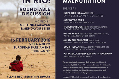 EU CIVIL SOCIETY ASKS FOR €1BN ADDITIONAL COMMITMENT TO END MALNUTRITION IN HIGH LEVEL EVENT IN EUROPEAN PARLIAMENT